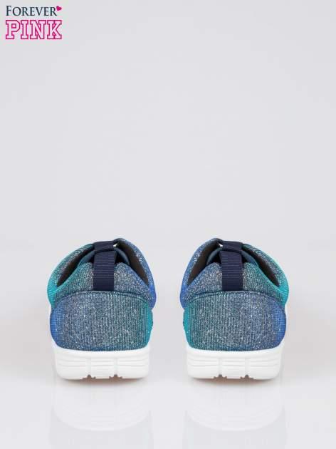 Granatowe buty sportowe textile Diamonds z metaliczną nitką                              zdj.                              3
