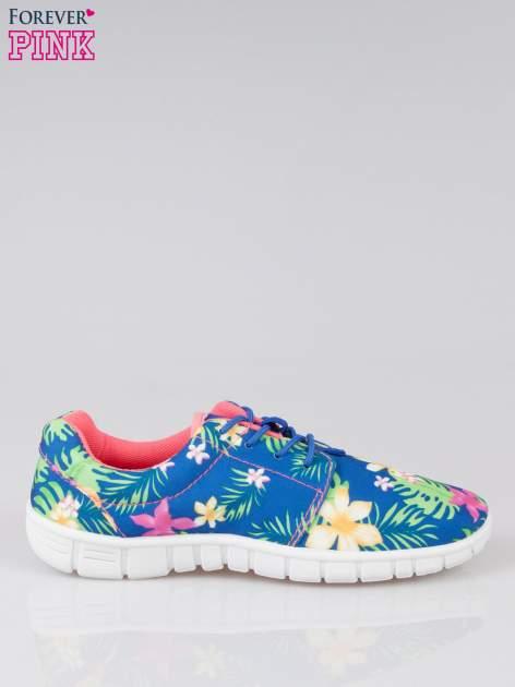 Granatowe buty sportowe textile Tropicana w exotic print na podeszwie flex                                  zdj.                                  1