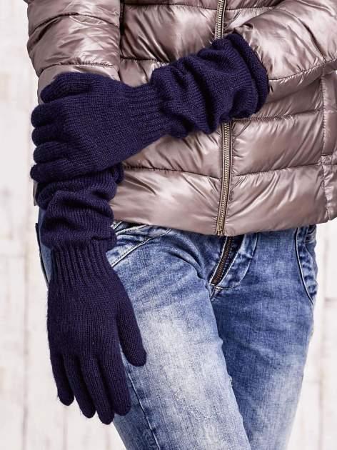 Granatowe długie rękawiczki z marszczonym ściągaczem                                   zdj.                                  3