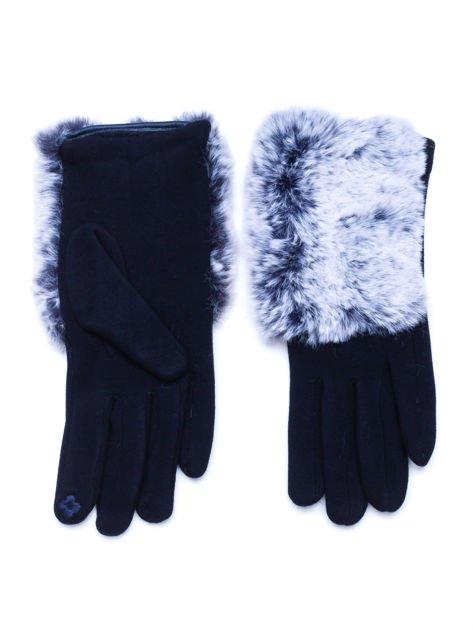 Granatowe eleganckie rękawiczki z futerkiem