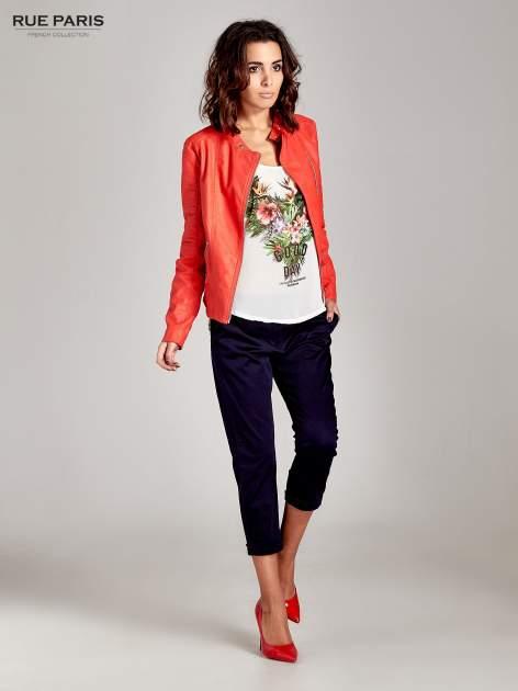 Granatowe eleganckie spodnie za kolano                                  zdj.                                  7