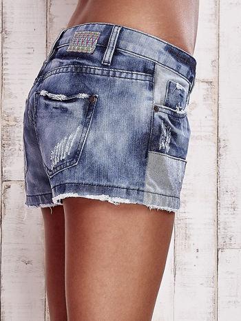 Granatowe jeansowe szorty z jaśniejszymi wstawkami                                  zdj.                                  6