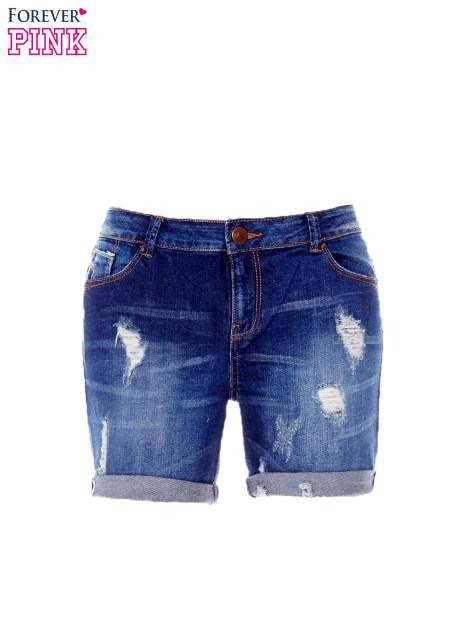 Granatowe jeansowe szorty z podwijanymi nogawkami                                  zdj.                                  7