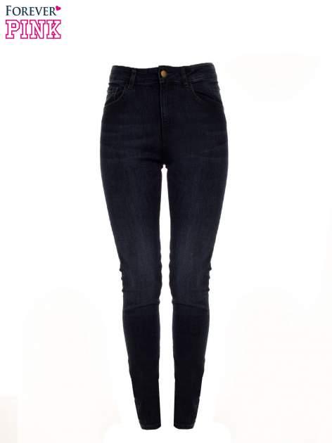 Granatowe jeansy rurki z wysokim stanem                                  zdj.                                  1