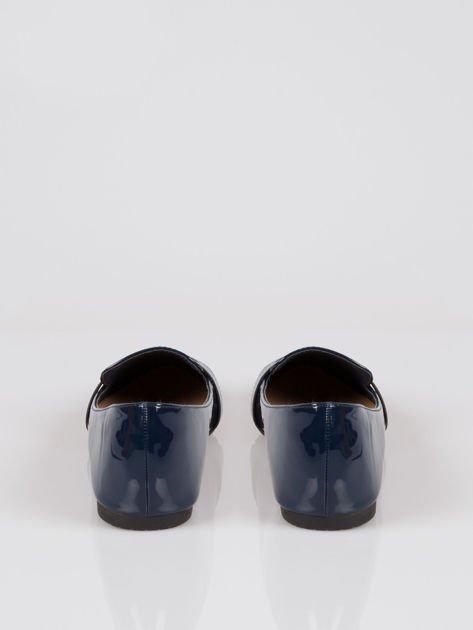 Granatowe lakierowane mokasyny penny loafers Harper                                  zdj.                                  3