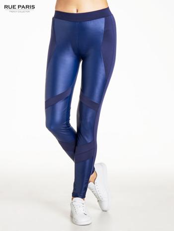 Granatowe legginsy modelujące ze skórzanymi panelami