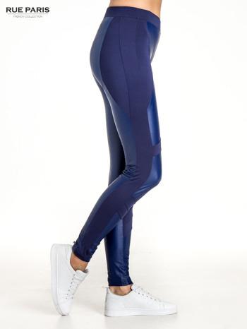 Granatowe legginsy modelujące ze skórzanymi panelami                                  zdj.                                  3