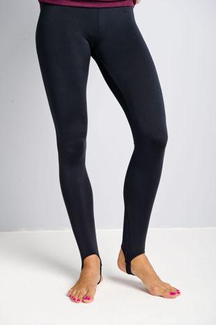 Granatowe legginsy zakładane na stopę