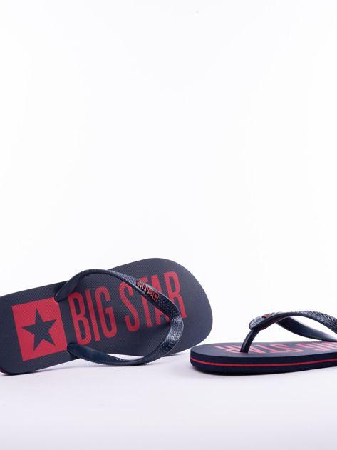 Granatowe męskie klapki BIG STAR z dużym logo na podeszwie                              zdj.                              6