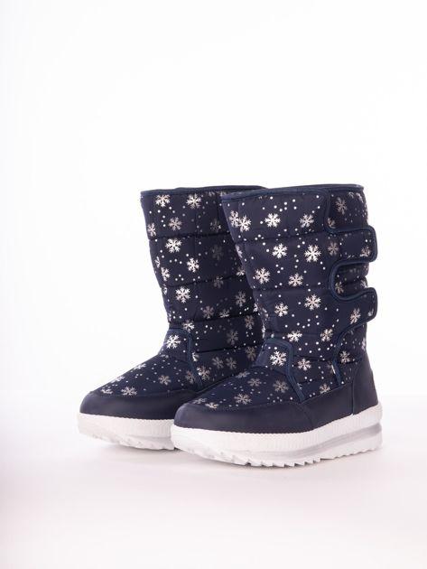 Granatowe pikowane śniegowce w srebrne gwiazdki                              zdj.                              4