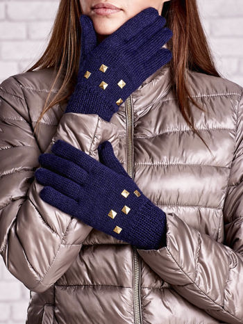 Granatowe rękawiczki z ćwiekami i ściągaczem                                  zdj.                                  1