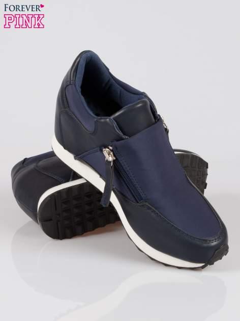 Granatowe sneakersy damskie z suwakiem                                  zdj.                                  4
