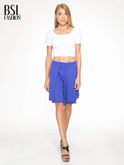 Granatowe spódnicospodnie z zakładkami                                  zdj.                                  5