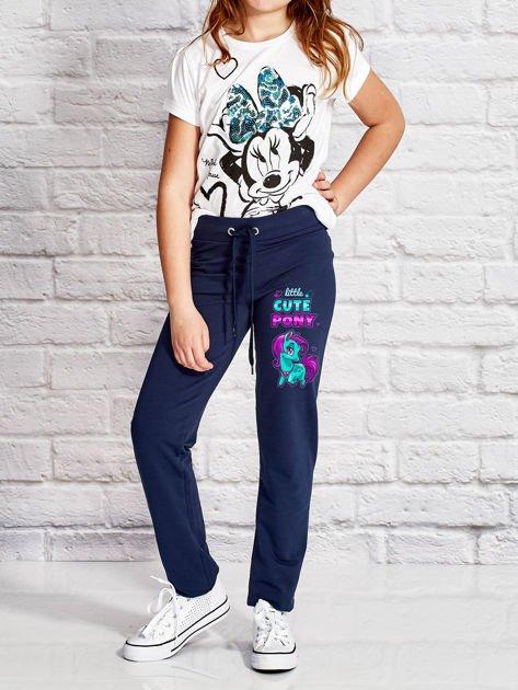 Granatowe spodnie dresowe dla dziewczynki LITTLE CUTE PONY                              zdj.                              4
