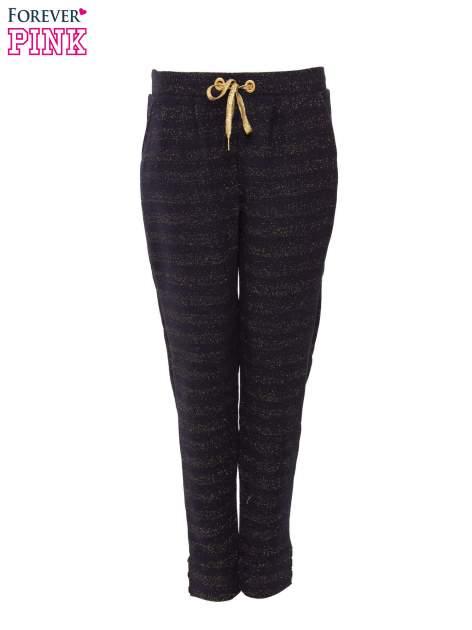 Granatowe spodnie dresowe przeplatane metaliczną nicią                                  zdj.                                  1