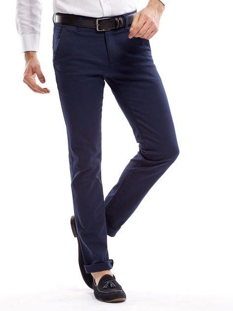 Granatowe spodnie męskie slim fit                              zdj.                              1