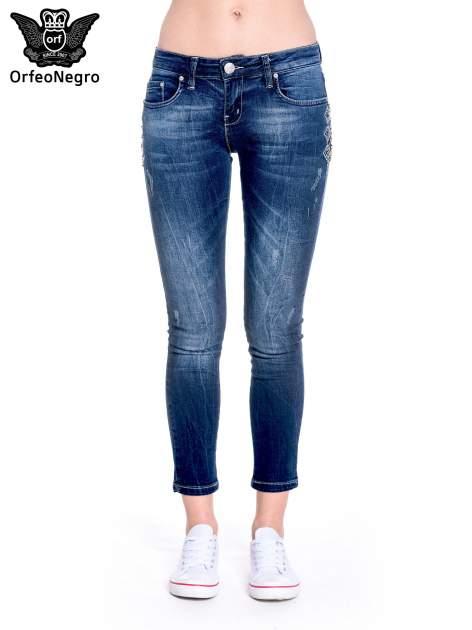 Granatowe spodnie skinny jeans z haftem                                  zdj.                                  3
