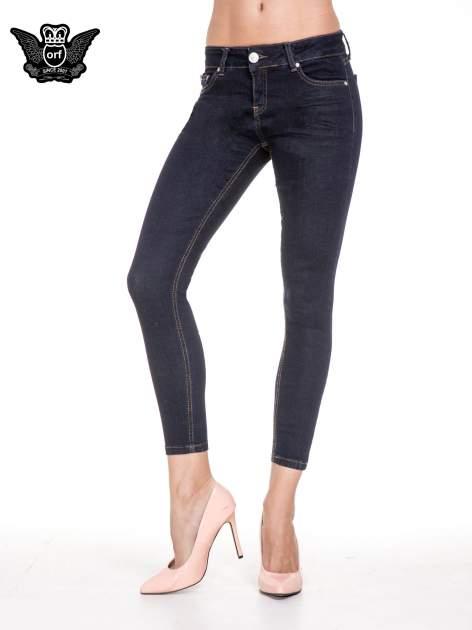 Granatowe spodnie super skinny jeans długości 7/8                                  zdj.                                  1