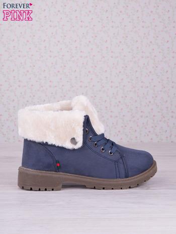 Granatowe sznurowane botki eco leather Chill z futrzanym kołnierzem i krótką cholewką                                  zdj.                                  1