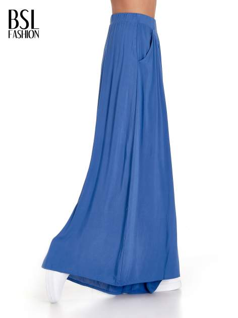 Granatowe zwiewne spodnie typu culottes                                  zdj.                                  3