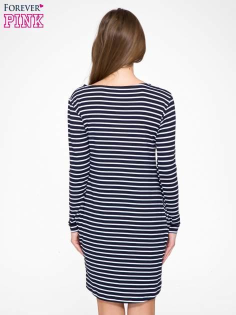 Granatowo-biała prosta sukienka w paski z długim rękawem                                  zdj.                                  4