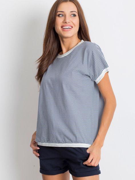 Granatowo-biały t-shirt Swanky                              zdj.                              1