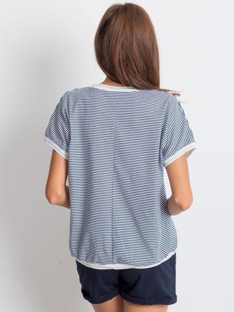 Granatowo-biały t-shirt Swanky                              zdj.                              2