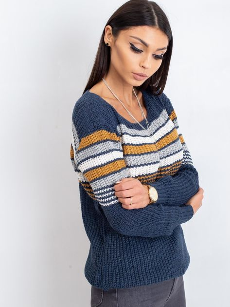 Granatowo-brązowy sweter Attitiude                              zdj.                              3