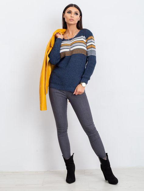 Granatowo-brązowy sweter Attitiude                              zdj.                              4