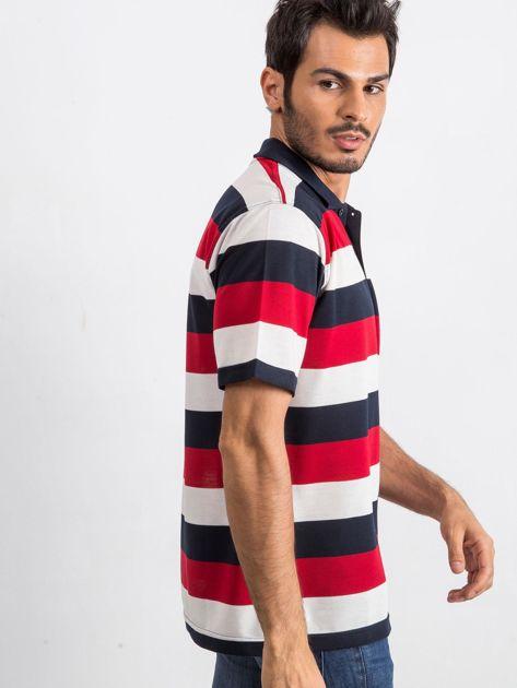 Granatowo-czerwona koszulka męska polo Thought                              zdj.                              3