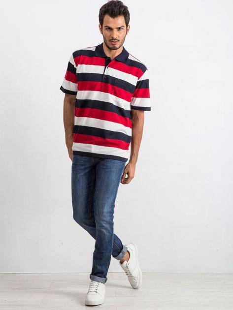 Granatowo-czerwona koszulka męska polo Thought                              zdj.                              4