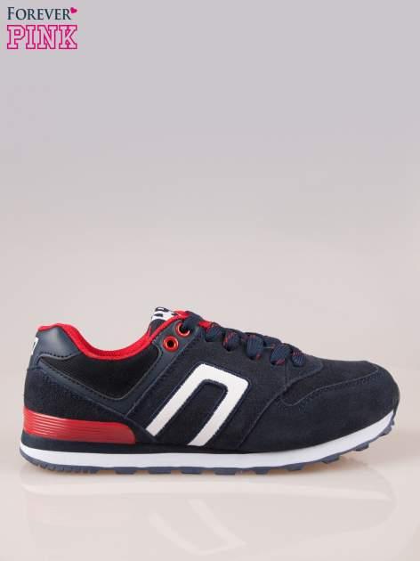 Granatowo-czerwone buty sportowe damskie