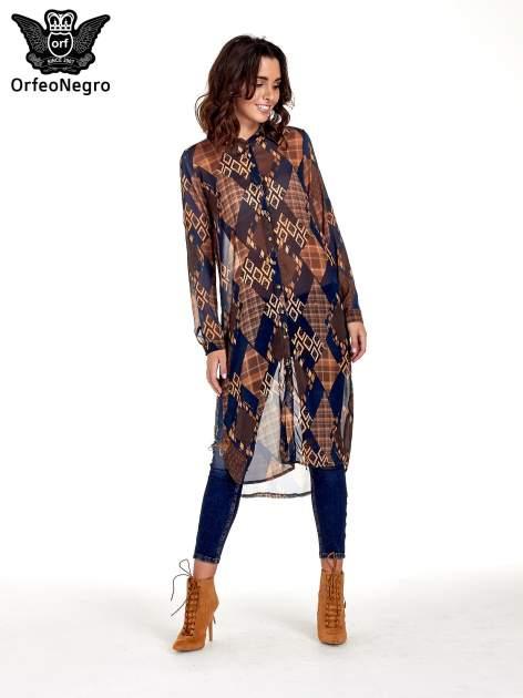Granatowo-pomarańczowa długa koszula mgiełka w patchworkowy print