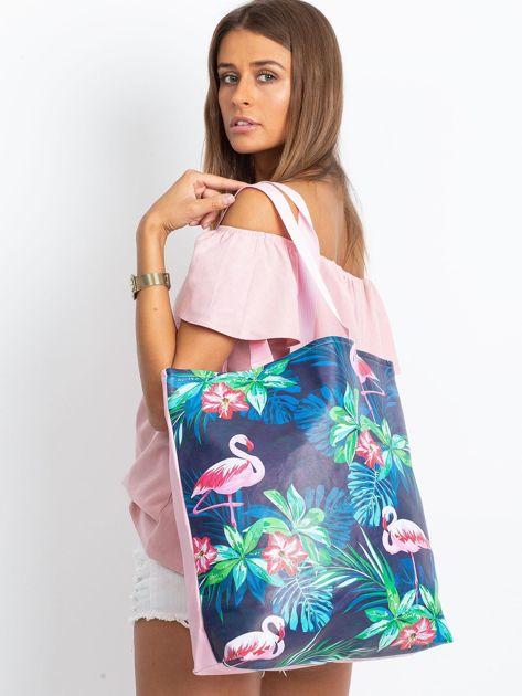 Granatowo-różowa torba z nadrukiem                              zdj.                              8