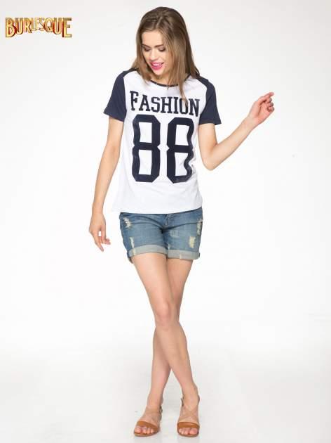 Granatowo-szary t-shirt z nadrukiem FASHION 88                                  zdj.                                  2