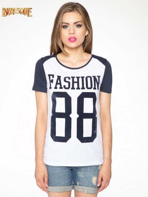 Granatowo-szary t-shirt z nadrukiem FASHION 88                                  zdj.                                  10