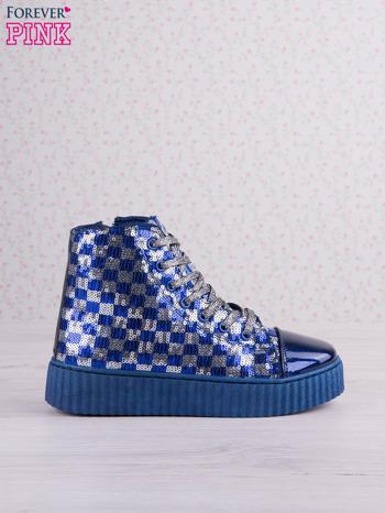 Granatowosrebrne sneakersy Kailey z cekinami w szachownicę