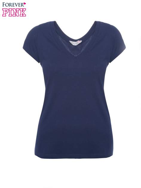 Granatowy basicowy t-shirt z dekoltem w serek                                  zdj.                                  2