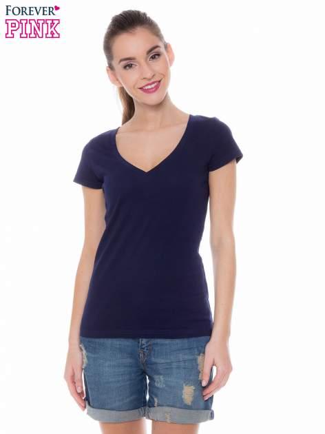 Granatowy basicowy t-shirt z dekoltem w serek