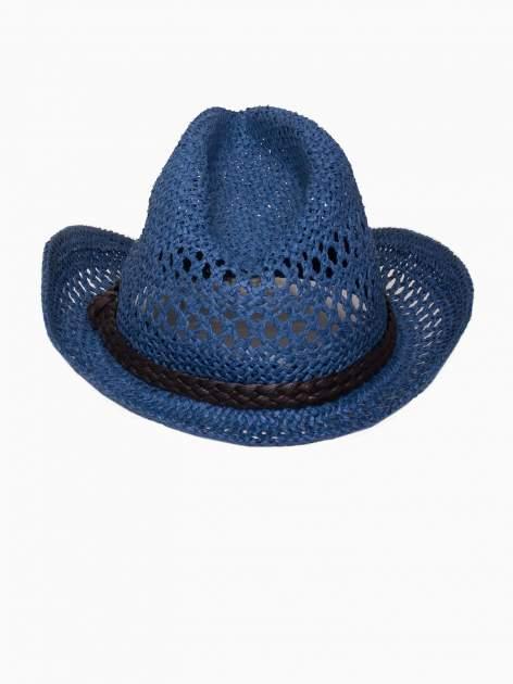 Granatowy damski kapelusz kowbojski z ciemną plecionką                                  zdj.                                  5