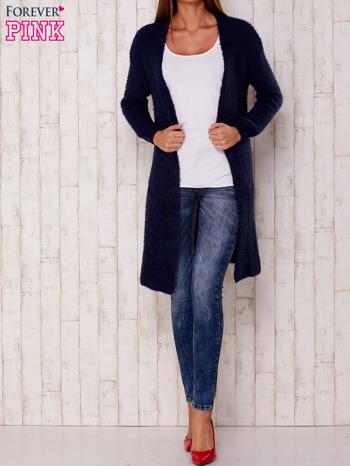 Granatowy długi puszysty sweter                                  zdj.                                  2