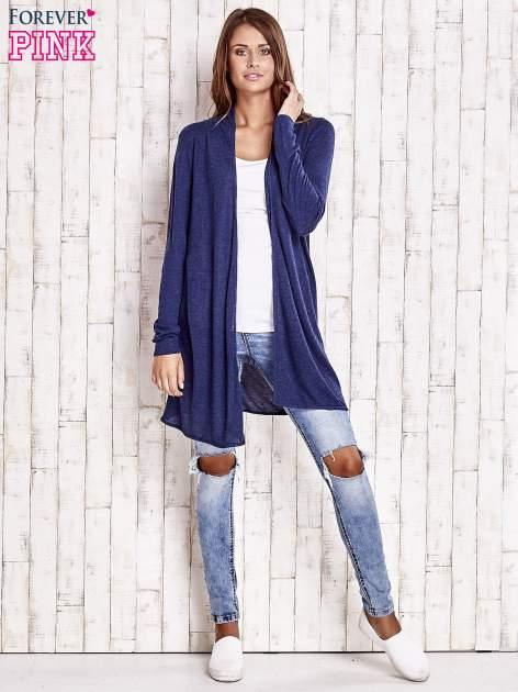 Granatowy długi sweter                                   zdj.                                  2