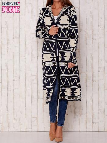 Granatowy długi sweter motywy geometryczne                                  zdj.                                  3