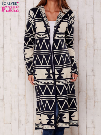Granatowy długi sweter motywy geometryczne                                  zdj.                                  2