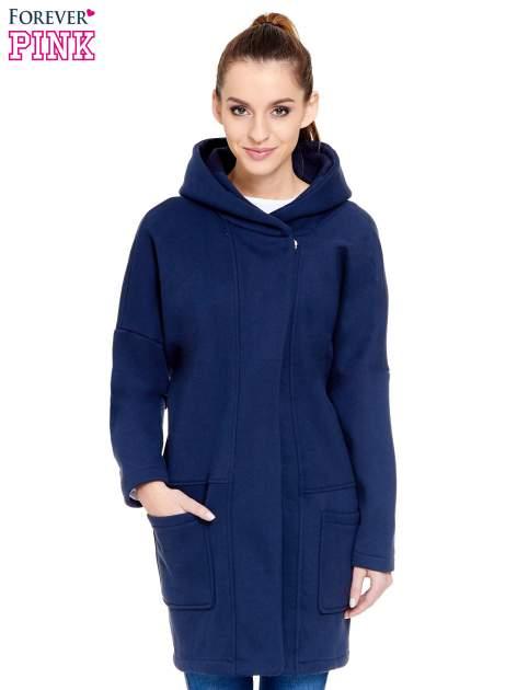 Granatowy dresowy płaszcz z kapturem i kieszeniami                                  zdj.                                  1