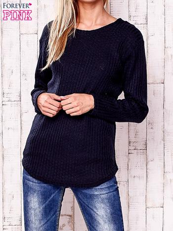 Granatowy dzianinowy sweter                                   zdj.                                  1