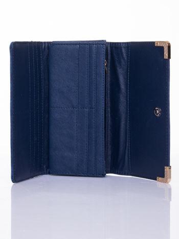 Granatowy dziurkowany portfel ze złotym wykończeniem                                  zdj.                                  4