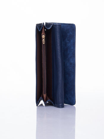 Granatowy dziurkowany portfel ze złotym wykończeniem                                  zdj.                                  5