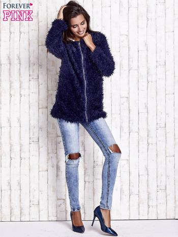 Granatowy futrzany sweter kurtka na suwak                                  zdj.                                  4