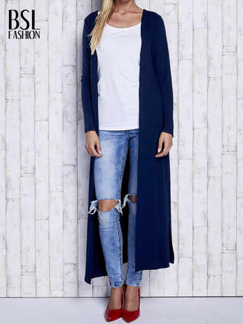 Granatowy gładki sweter z otwartym dekoltem                                  zdj.                                  2